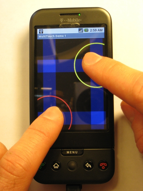 Two touch points being detected, with blue bars indicating the column and row of each touch point